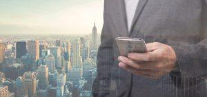 Businessman Manhattan Skyline