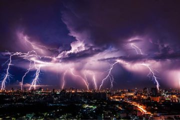 lightning strike over city