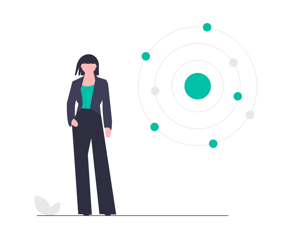 natural language processing women standing near data extraction chart