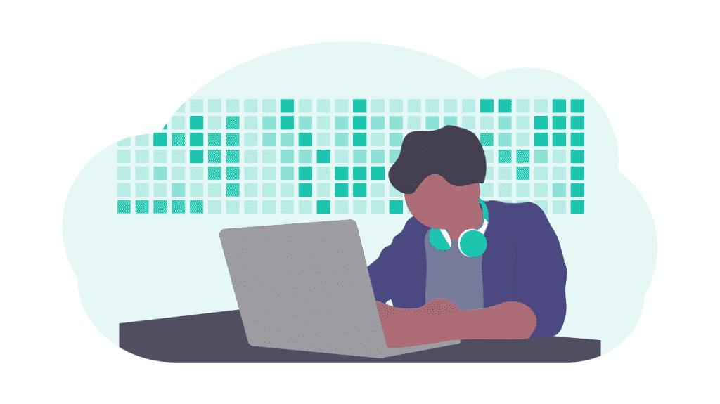 natural language processing man coding on computer